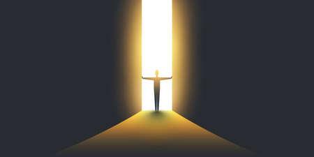 Nieuwe mogelijkheden, hoop - Business vinden oplossing Vector Concept - zakenman permanent in het donker, symbool van licht aan het einde van de tunnel