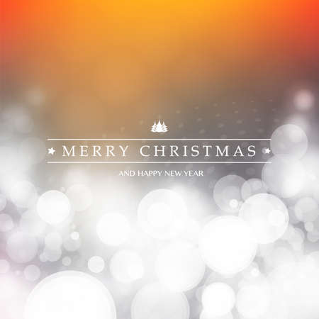 Colorful Happy Holidays, Merry Christmas Greeting Card With Label on a Sparkling Blurred Background Illustration