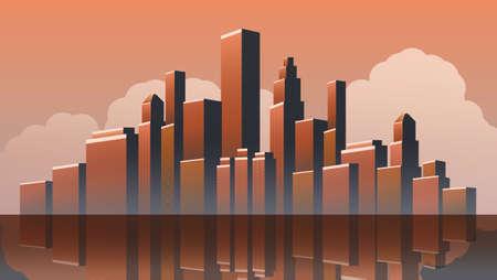 Metropolis - Diseño vectorial de paisaje urbano urbano