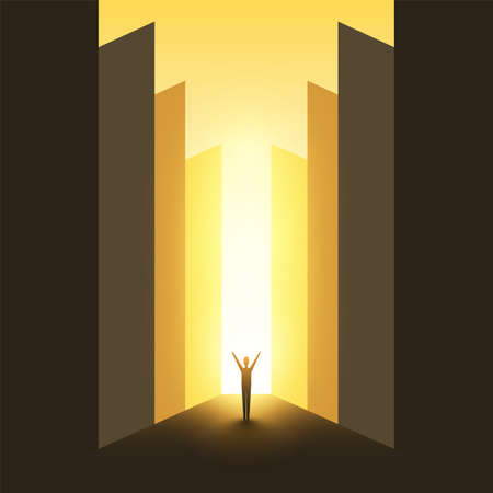 Business or Career Opportunity, Enlightenment - Vector Design Concept, Symbol of Success, Vision, Future, Perspective, Hope
