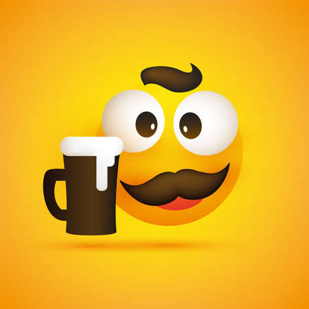 Smiling Emoji - Simple Happy Emoticon with Squint Pop Out Eyes, Mustache and a Glass of Beer on Yellow Background - Vector Design