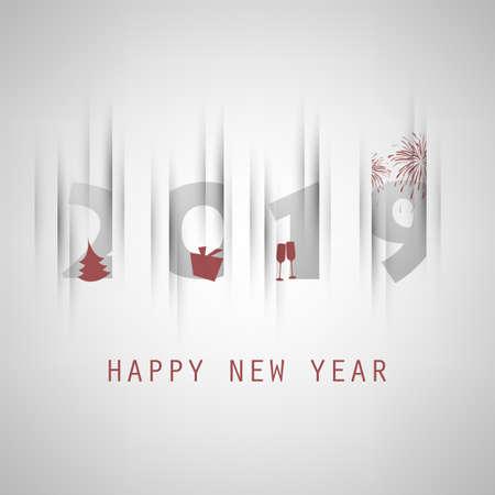 Mis mejores deseos: tarjeta de año nuevo gris y roja simple, cubierta o plantilla de diseño de fondo con árbol de Navidad, caja de regalo, vasos para beber y fuegos artificiales - 2019
