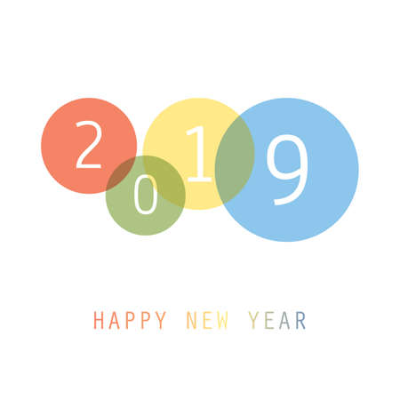 Best Wishes - Simple Colorful New Year Card, Cover or Background Design Template with Numerals - 2019