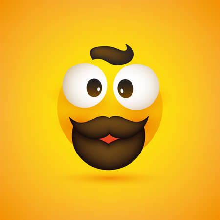 Smiling Emoji - Simple Happy Emoticon with Squint Pop Out Eyes, Mustache and Beard on Yellow Background - Vector Design