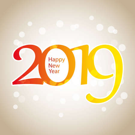 Sparkling Colorful New Year Card, Cover or Background Design Template - 2019