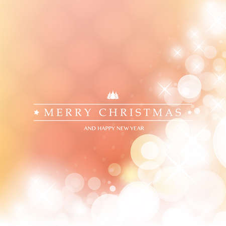 Colorful Happy Holidays, Merry Christmas Greeting Card With Label on a Sparkling Blurred Background Stock Illustratie