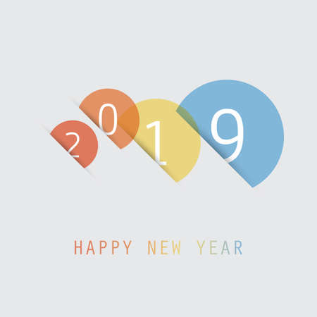 Simple Colorful New Year Card, Cover or Background Design Template - 2019