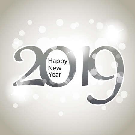 Biglietto di Capodanno grigio argento scintillante, copertina o modello di progettazione di sfondo - 2019 Vettoriali