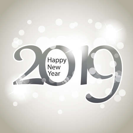 Sparkling Silver Grey New Year Card, Cover or Background Design Template - 2019 Stockfoto - 111517359