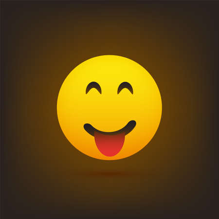 Smiling Emoji with Stuck Out Tongue - Simple Happy Emoticon on Brown Background - Vector Design