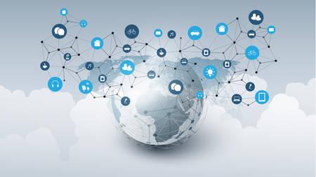 Internet der Dinge, Cloud-Computing-Designkonzept mit Erdkugel, Wolken und Symbolen - globale digitale Netzwerkverbindungen, intelligentes Technologiekonzept