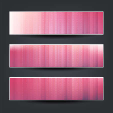 Set of Horizontal Banner or Header Designs for Your Business with Claret, Pink and White Striped Patterned Background