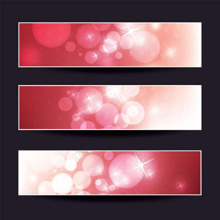 Ensemble de conceptions de bannières scintillantes horizontales rouges pour Noël, nouvel an, événements saisonniers ou vacances