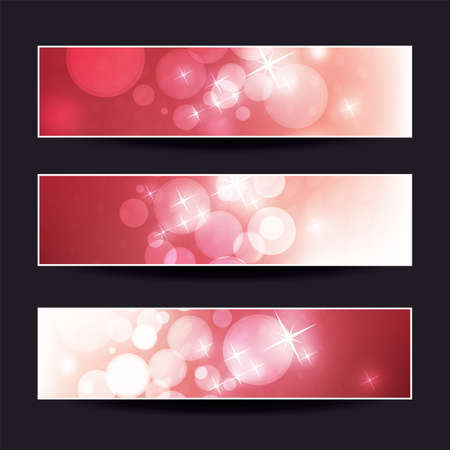 Set of Red Horizontal Sparkling Banner Designs for Christmas, New Year, Seasonal Events or Holidays