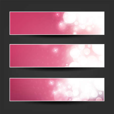 Set of Pink, Claret and Purple Horizontal Sparkling Banner Designs for Christmas, New Year, Seasonal Events or Holidays Çizim