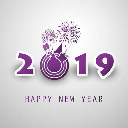 Best Wishes - Abstract Modern Style Happy New Year Greeting Card or Background, Creative Design Template - 2019