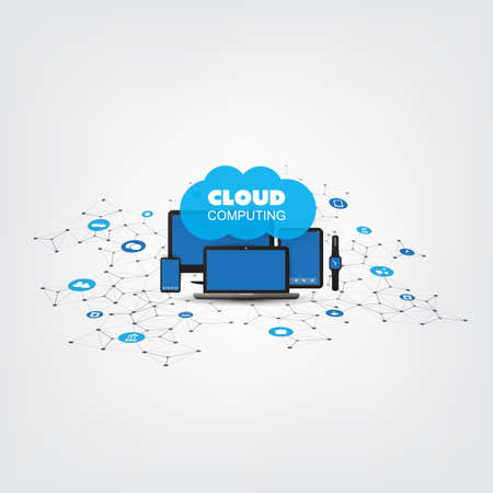 Internet of Things, Cloud Computing Design Concept with Electronic Devices and Icons - Digital Network Connections, Technology Background Banque d'images - 113355944