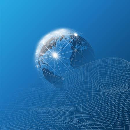 Concept de conception de technologie mondiale futuriste, de mise en réseau et d'informatique en nuage avec globe terrestre et motif de maillage ondulé 3D - connexions réseau numériques, arrière-plan technologique