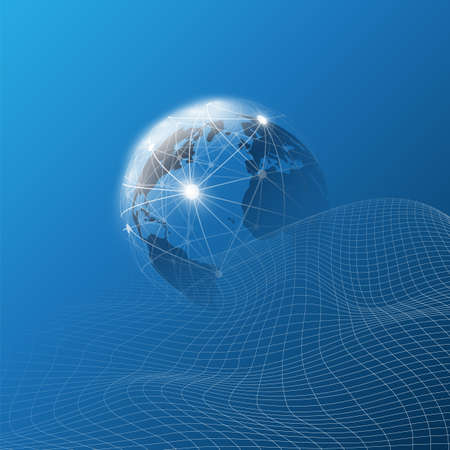 Futuristic Global Technology, Networking and Cloud Computing Design Concept with Earth Globe and 3D Wavy Mesh Pattern - Digital Network Connections, Technology Background