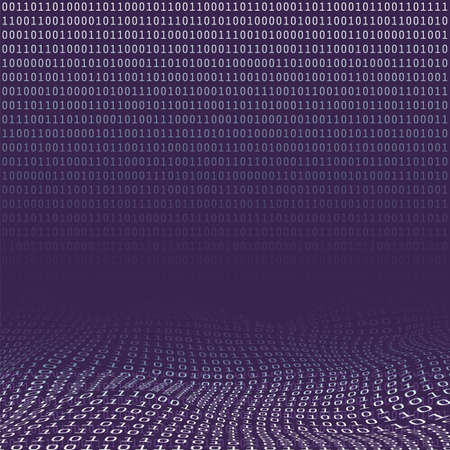 Digital Matrix, Bits Pattern, Ones and Zeros - Abstract Modern 3D Digital Information Vector Background or Wallpaper Template for Business, IT or Technology