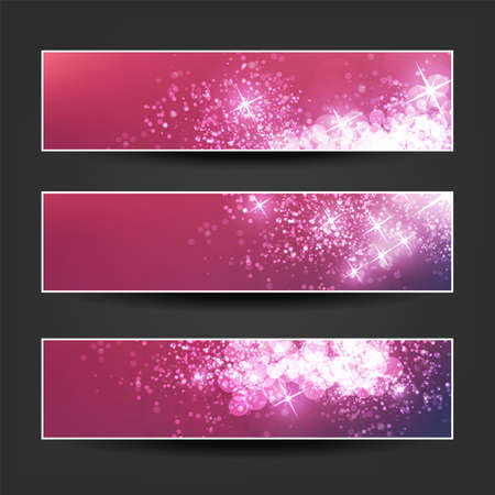 Set of Pink, Claret and Purple Horizontal Sparkling Banner Designs for Christmas, New Year Ads, Seasonal Events or Holidays
