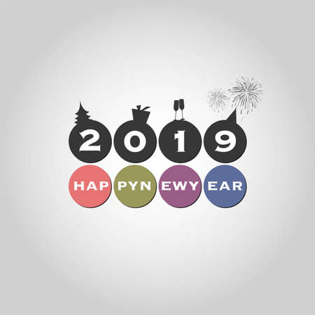 Best Wishes - Modern Simple Minimal Happy New Year Card or Cover Background Template - 2019