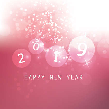 Best Wishes - Claret and White Abstract Modern Style Happy New Year Greeting Card, Cover or Background, Creative Design Template - 2019