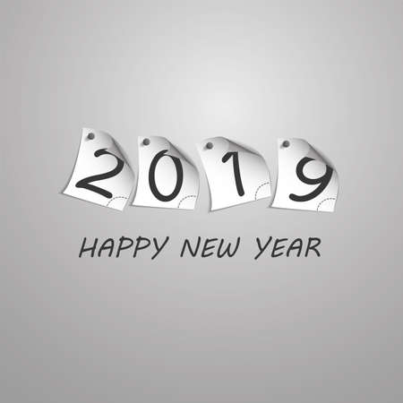 Best Wishes - Abstract Silver Grey New Year Card Template Design with Numerals Printed on Curled Pinned Note Paper - Greeting Card for Year 2019