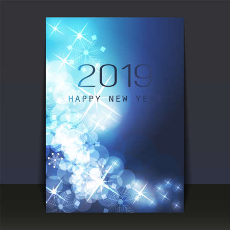 Ice Cold Blue Patterned Shimmering New Year Card, Flyer or Cover Design - 2019 Stock Illustratie