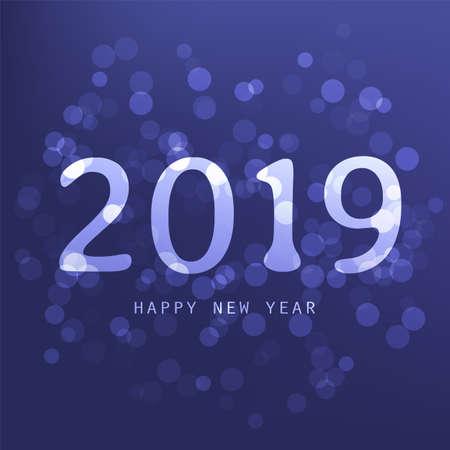 Best Wishes - Purple Abstract Modern Style Happy New Year Greeting Card, Cover or Background, Creative Design Template - 2019