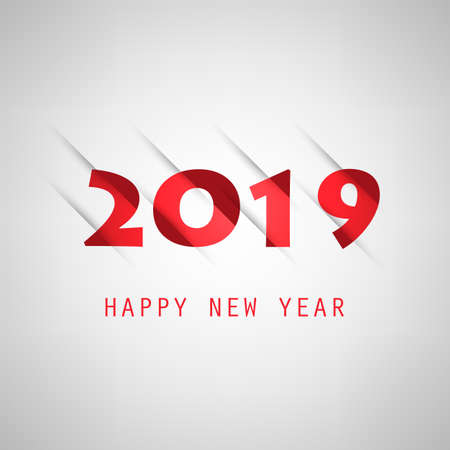 Simple Red, Grey and Red New Year Card, Cover or Background Design Template - 2019