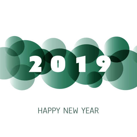 Simple Green and White New Year Card, Cover or Background Design Template - 2019