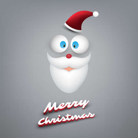 Merry Christmas Card With Funny Santa Claus Face, Pop Out Eyes and White Beard