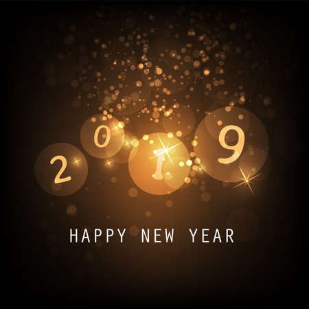 Best Wishes - Golden and Black Abstract Modern Style Happy New Year Greeting Card, Cover or Background, Creative Design Template - 2019