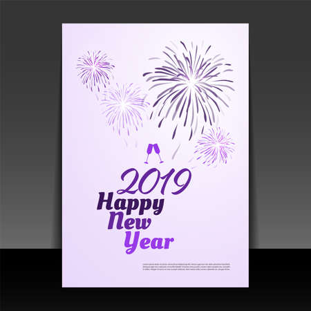 New Year Card Background - Flyer Design with Fireworks - 2019