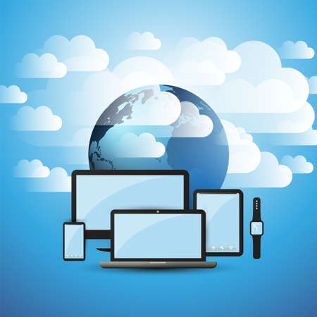 Cloud Computing Design Concept - Digital Connections, Technology Background with Electronic Devices, Earth Globe and Clouds