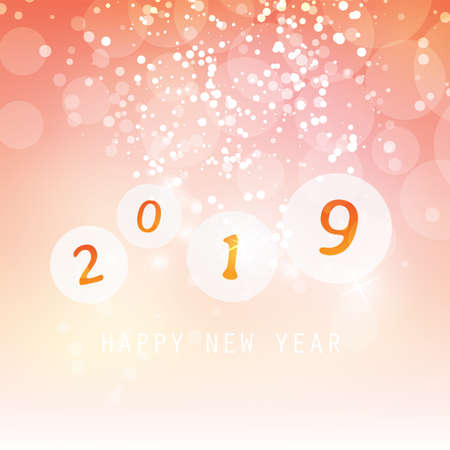 Best Wishes - Orange and White Abstract Modern Style Happy New Year Greeting Card, Cover or Background, Creative Design Template - 2019