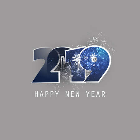 Blue and Grey New Year Card, Cover or Background Design Template With Snowflakes - 2019 Vettoriali