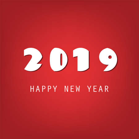 Simple White and Red New Year Card, Cover or Background Design Template - 2019 Vettoriali