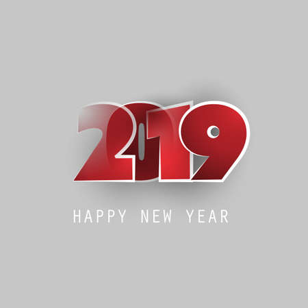 Red, White and Grey New Year Card, Cover or Background Design Template - 2019