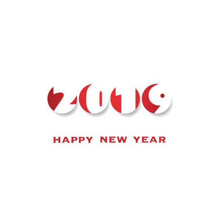 Simple White and Red New Year Card, Cover or Background Design Template - 2019