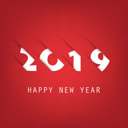 Simple Red and White New Year Card, Cover or Background Design Template - 2019 Vettoriali