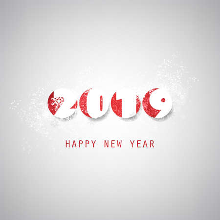 Simple Grey and Red New Year Card, Cover or Background Design Template - 2019 Vettoriali