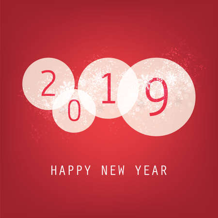 Best Wishes - Simple Red and White New Year Card, Cover or Background Design Template with Numerals - 2019
