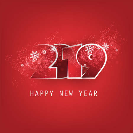 Red and White New Year Card, Cover or Background Design Template - 2019