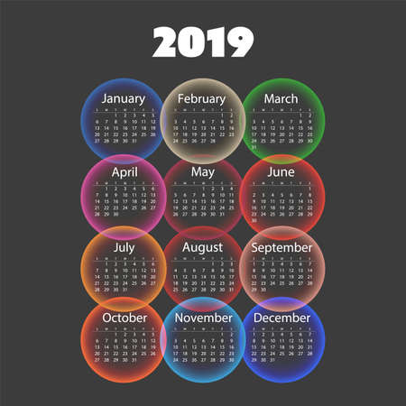 Colorful 2019 Calendar Design Template