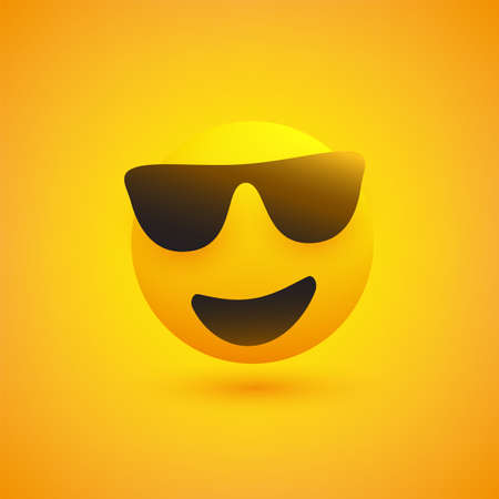 Smiling Emoji with Sunglasses on Yellow Background - Vector Design 向量圖像