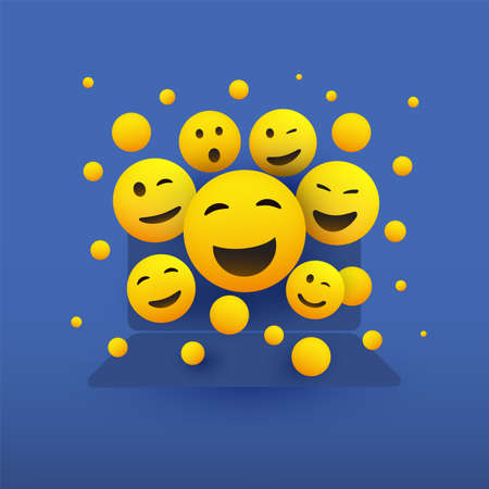 Various Smiling Happy Yellow Emoticons in Front of a Laptop Computers Screen
