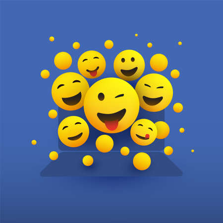 Various Smiling Happy Yellow Emoticons in Front of a Laptop Computer's Screen Ilustrace