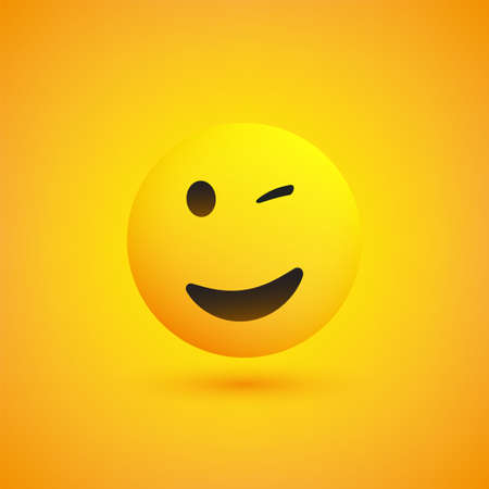 Smiling and Winking Emoji - Simple Shiny Happy Emoticon on Yellow Background - Vector Design